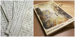 Fresh Air and Empty Streets; hand written text and the finished book