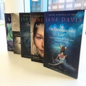 Books by Jane Davis displayed in a row