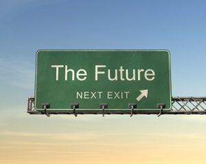 Road Sign displaying The Future, Next Exit