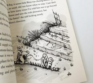 Tigeropolis illustration on book text page
