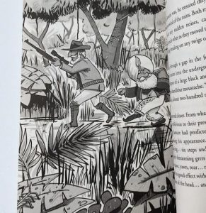 Tigeropolis illustration on book text page