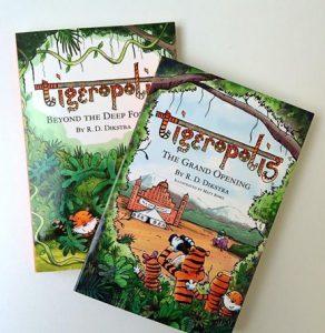 Tigeropolis books displayed on table
